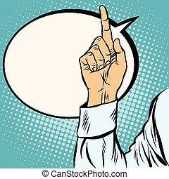 one index finger up gesture