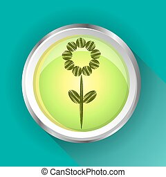 One, isolated, modern, round, green, metal sign, button with flower