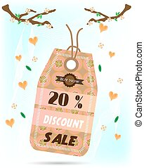 One, isolated, romantic sticker with text Sale, pink pattern