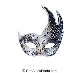 one isolated Venetian theatre mask in silver color
