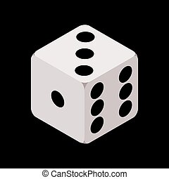 One isometric craps game dice, matte photo realistic material, 3d render, vector cube illustration isolated on black background EPS