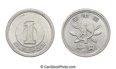 One japanese yen coin faces