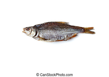 One jerky or dried salted roach, delicious clipfish isolated...