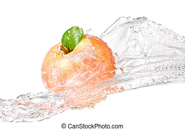 One juicy red apple in water splash isolated on a white background