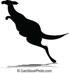 one kangaroo vector silhouettes