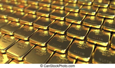One kilo gold bars. Loopable realistic 3D animation -...