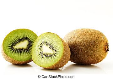 one kiwifruit and two half kiwis isolated on white background