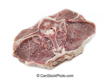 One lamb chop on white background