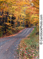"""One Lane Autumn - """"Tunnel Road"""" above Houghton, Michigan ..."""