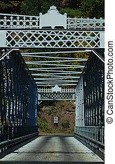 One Lane Bridge - Old, one lane iron bridge built in 1890. ...