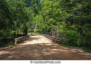 One lane bridge on dirt road - A one lane bridge crosses a ...