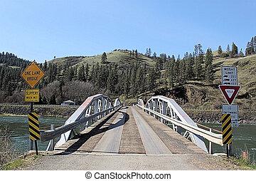 One Lane Bridge Over River - This one lane bridge crosses ...