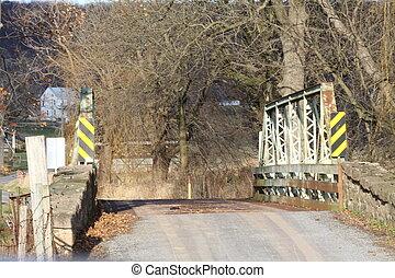 One Lane Bridge - Rustic old, narrow bridge on an old, well ...