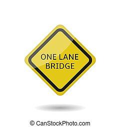 One lane bridge sign vector