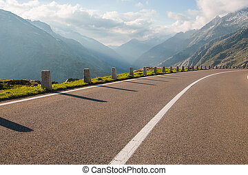 One lane of road, Grimsel pass, Alps, Switzerland