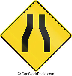 One Lane Road Ahead In Canada - Canadian road warning sign...