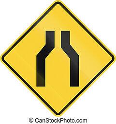 One Lane Road Ahead - US road warning sign: One lane road ...