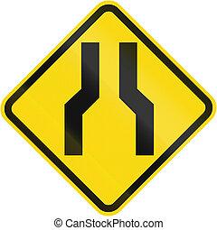 One Lane Road Ahead warning used In Brazil.