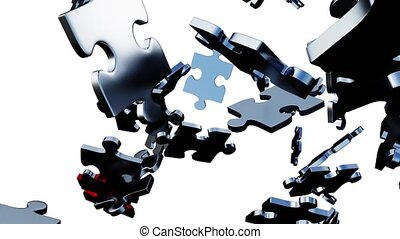 One large Red piece of puzzle taking its place in a mess of ...