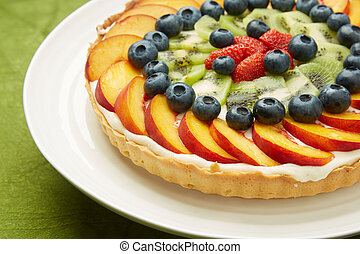 One Layer Tasty Cake with Fresh Fruit Toppings