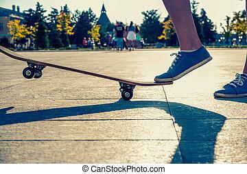 One leg standing on skate