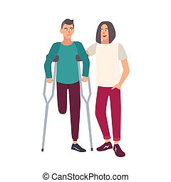 One-legged man with crutches standing together with his...