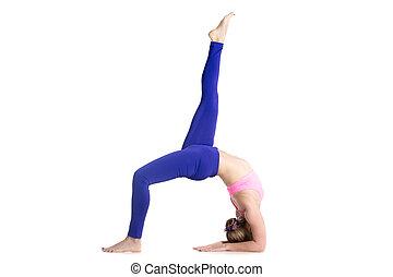 One-legged Upward Bow Pose - Sporty beautiful young blond...