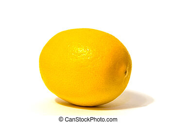 One lemon isolated on white background.