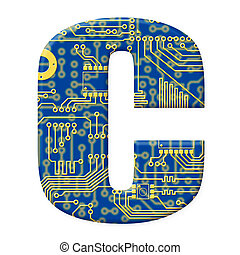 One letter from the electronic technology circuit board alphabet on a white background - C