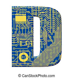 One letter from the electronic technology circuit board alphabet on a white background - D