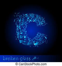 One letter of broken glass - C. Illustration on black...