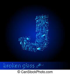 One letter of broken glass - J. Illustration on black...