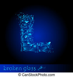 One letter of broken glass - L. Illustration on black...