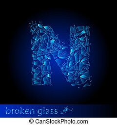 One letter of broken glass - N. Illustration on black...