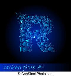 One letter of broken glass - R. Illustration on black...