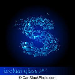 One letter of broken glass - S. Illustration on black...