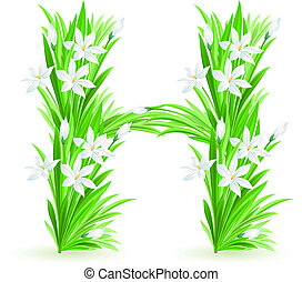 One letter of spring flowers