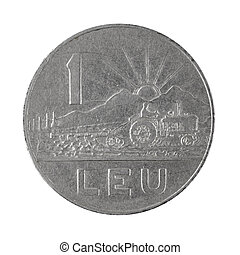 One Leu coin 1966 Romanian money isolated on a white background photo