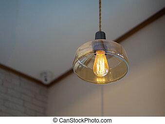 One Light bulb and bokeh light.