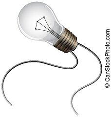 One lightbulb on white background