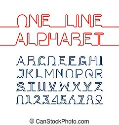 One line alphabet and numbers