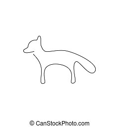 One line design silhouette of fox. hand drawn minimalism style. vector illustration