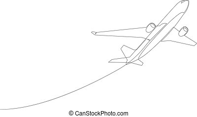 One line drawing of isolated vector object - flying passenger airplane.