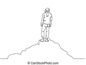 one line drawing of man on the top of the world