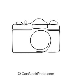 One line drawing of camera. Black image isolated on white background.