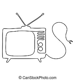 One line drawing of TV. Black image isolated on white background.