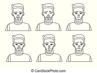 One line drawing Set of male facial emotions. Vector...