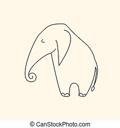One line elephant vector illustration