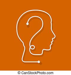 One line forming a human head with question mark.