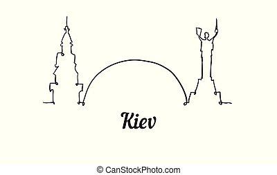 One line style Kiev skyline. Simple modern minimalistic style vector. Isolated on white background.